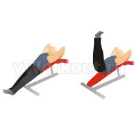 Поднятие ног на наклонной скамье с выпадом бедрами