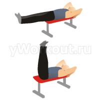 Подъем ног лежа на горизонтальной скамье