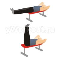 Поднятие ног лежа с выпадом бедрами