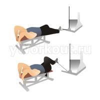 Поднятие одного колена с блоком лежа на спине