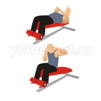 Подъем туловища на наклонной скамье с поворотами