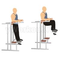 Подъем колен в тренажере с упорами для локтей с отягощением
