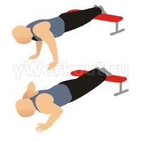 Отжимания, ноги на скамье