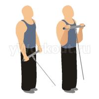 Сгибание рук на блоке стоя (обратным хватом)