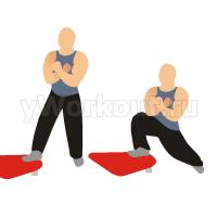 Выпады с собственным весом используя наклонную скамью