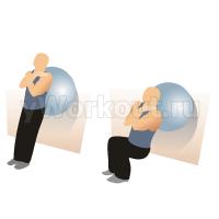 Приседания у стены используя фитбол