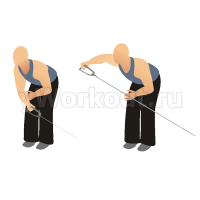 Разведение одной руки в наклоне на блоке
