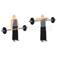 Вертикальная тяга штанги к груди широким хватом